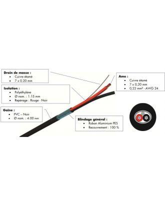 Paire de brassage audio noir 100m CA40