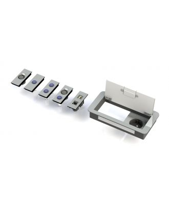 Boitier de table Design 1 Alim + 2 demi modules E1-SOCKET-X-170-D Element One
