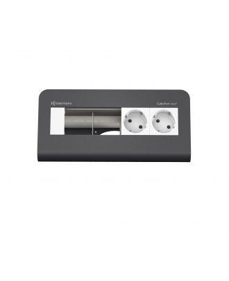 CablePort desk² 80 4M, 2 alims et 2 modules vide (RAL 7015) Kindermann 7430000272