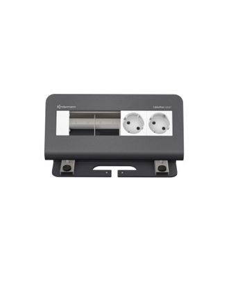 CablePort desk² 4M avec 2 alims et 2 modules vide (RAL 7015) Kindermann 7430000072