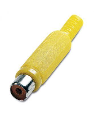 Fiche RCA femelle plastique jaune