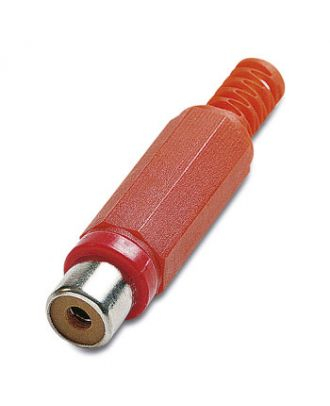 Fiche RCA femelle plastique rouge