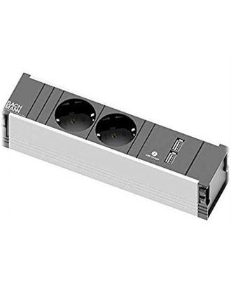 Bloc prise à fixer en fond de goulotte - 2 PC + 2 USB Kamo