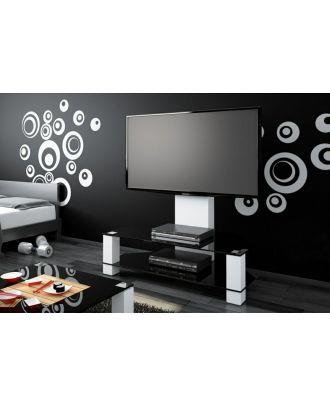 Meuble TV Hubertus LUGANO blanc + verre noir