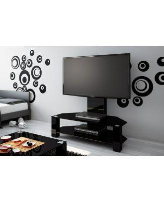 Meuble TV Hubertus LUGANO noir + verre noir