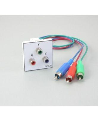 Plastron 45 + 3 RCA RVB câblées 10m en fiches RCA RVB M