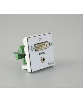 Plastron 45 + embase DVI F et 1 Jack 3,5 St sur bornier à vis