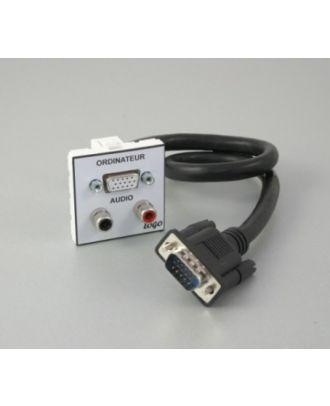 Plastron 45 + 1 HD15 F en 1m vers HD15 M + 2 RCA à souder