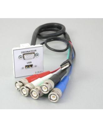 Plastron + 1 HD15 F 1m en 5 BNC M et 1 USB A F 1m en USB A M