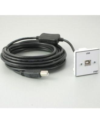 Plastron 45 + 1 USB B F 5m avec amplification sur fiche USB B M