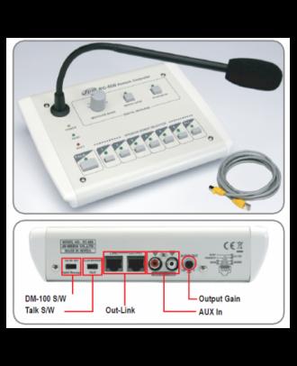 Pupitre micro à télécommande (carillon et priorité) 5 zones + AG + TC / DM 100 et RR 100 Rondson