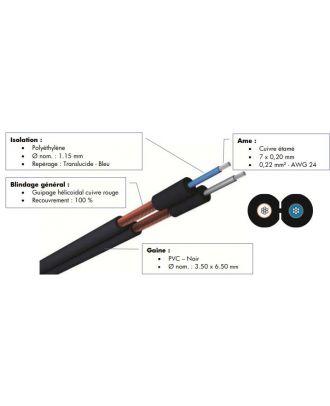 Cable asymetrique blinde - 2 x 0.22 mm² - pvc noir