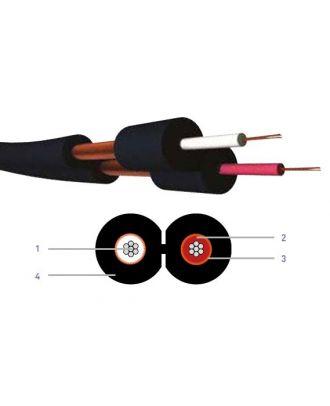 Cable asymetrique blinde - 2 x 0.22 mm² - pvc noir - hq