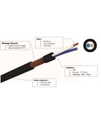 Cable micro - 0,50 mm² - pvc noir - 500 m
