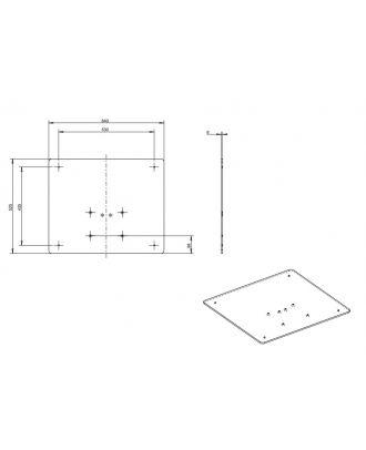 omb - Base carrée pour colonne 640 x 525cm - Noir