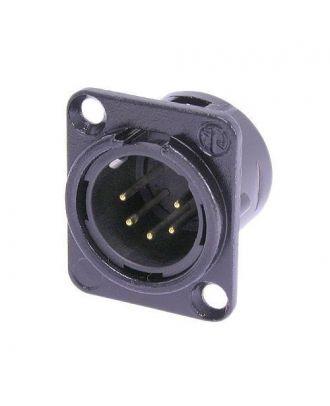 Embase XLR 5 poles série D, corps noir, contacts or - HA/100