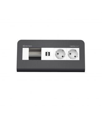 FR - CablePort desk² 80 4M, 2 alims, 2 USB et 1 module vide (RAL7015)