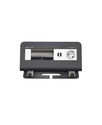 FR - CablePort desk² 4M, 1 alim, 2 USB, 2 modules vide (RAL 7015)
