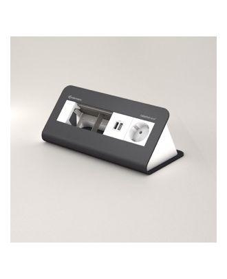 FR - CablePort desk² 80 4M, 1 alim, 2 USB et 2 modules vide (RAL7015)