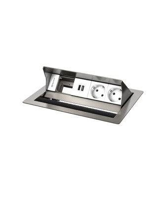 FR - CablePort standard² 4M, 2 alims, 2x USB et 1 module vide (inox)