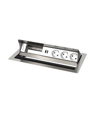 FR - CablePort standard² 6M, 3 alims, 2x USB et 2 modules vide (inox)