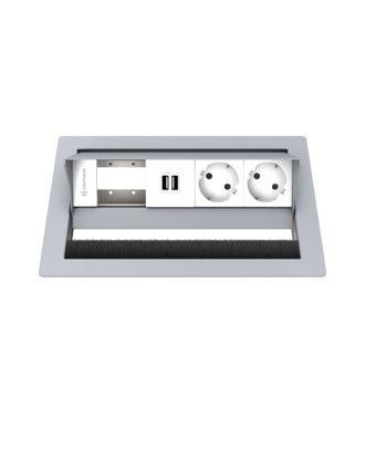 FR - CablePort standard² 4M, 2 alims, 2 USB, 1 module vide (RAL 9006)