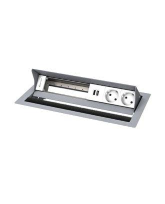FR - CablePort standard² 6M, 2 alims, 2 USB, 3 modules vide (RAL9006)