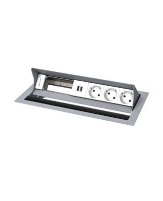 FR - CablePort standard² 6M, 3 alims, 2 USB, 2 modules vide (RAL9006)