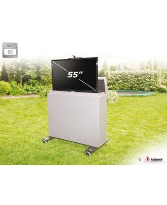 Chariot multimédia motorisé outdoor pour écran 55 pocues max - PACK!