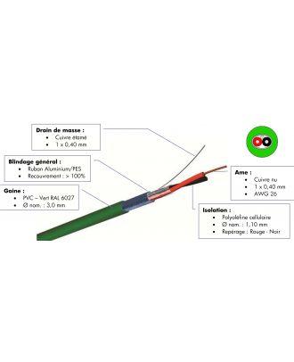 Paire de brassage numerique rigide 0,40 mm² gaine vert - à la coupe