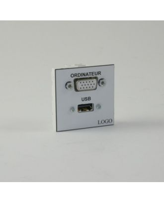 Plastron 45 + 1 HD15 traversante F ou M et 1 USB A F