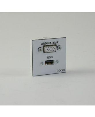 Plastron 45 + 1 HD15 F ou M et 1 USB A F à souder