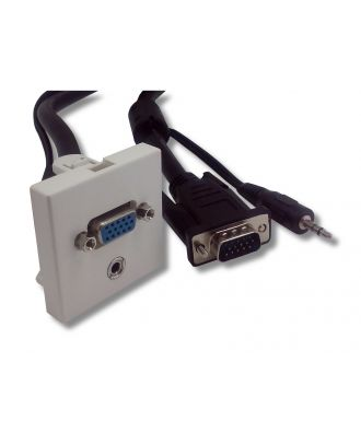Plastron 45x45 blanc HD15 Femelle/JACK 3.5 vers HD15 Mâle/JACK 3.5 10 m e-boxx